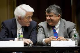 AFL-CIO president Rich Trumka with a representative of the Chamber of Commerce. Socialists must not ignore how the union leadership has climbed into bed with the employers.