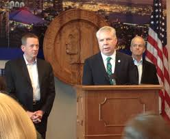 Seattle Mayor Murray speaking with David Rolf (L) and Howard Wright (R) - They collaborated together.