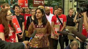 Kshama Sawant speaking to media.
