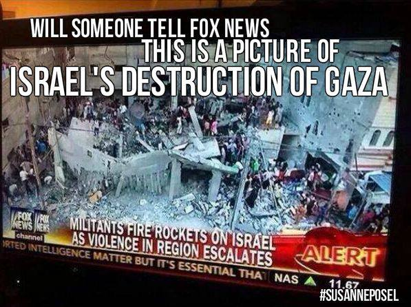 Fox News joins headline on rockets from Gaza with photo of effects of Israeli bombing on Gaza, leaving what impression?