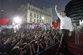 New Greek Prime Minister Alexis Tsipras greets crowd