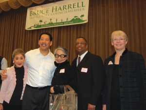 Larry Gossett (second from right) endorsing fellow Democrat Bruce Harrell. He serves as a conduit into this corporate-controlled party.