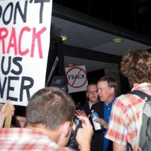 Colorado Governor Hickenlooper confronted by angry Coloradans after he threatened to sue any community that banned fracking.