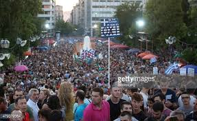 "Greek people rally for ""no"" vote."