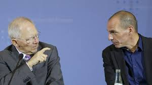 Yanis Varoufakis (r) and his former counterpart, German Finance Minister Schauble. Despite his denials, Schauble has the same medicine in store for the German working class.