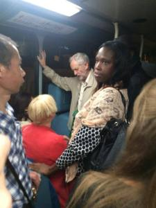 Jeremy Corbyn headed home on the bus (!) after a day's campaigning. No big entourage or limo for him.
