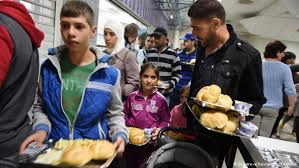 Syrian refugees at a center in Germany.