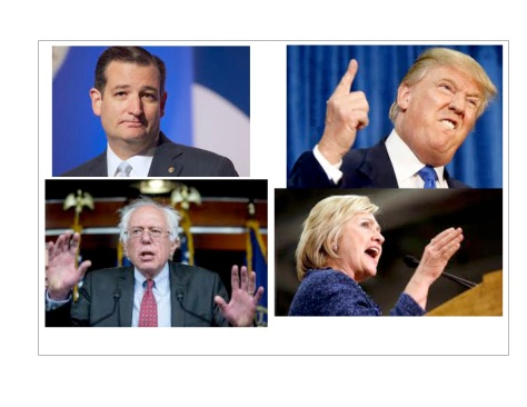 "The four leading candidates, clockwise from top left: the ""glib moralist"", the ""bigoted braggart"", the ""compulsive liar"" and the ""Sixties radical"". For different reasons, none of them is acceptable to Corporate America."