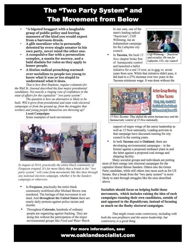 leaflet of Oaklandsocialist