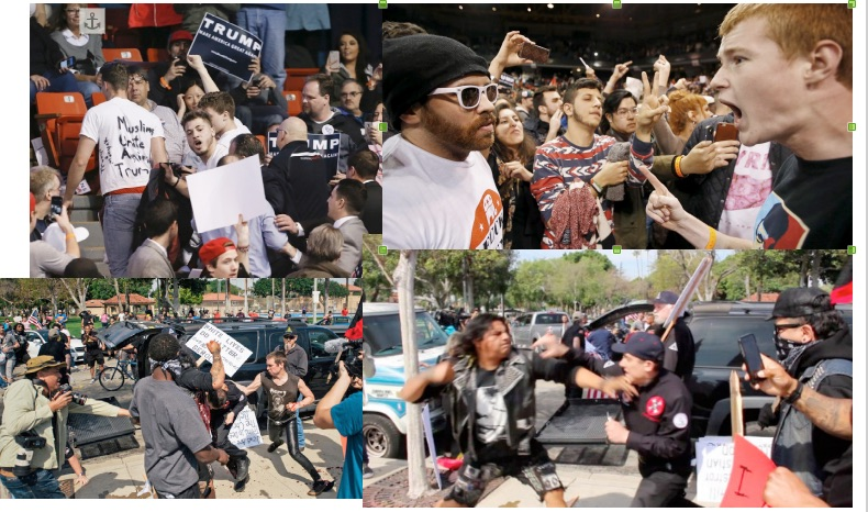 Top: protesters confront Trump supporters at the Trump rally in Chicago. Bottom: KKK opponents stop KKK from marching in Anaheim, CA. No matter who gets elected, we can expect a lot more of this sort of thing. And a lot more intense.