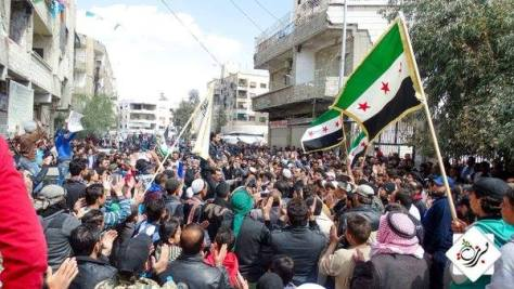 In March and April of this year, despite everything the Syrian people have gone through, the protests in the streets sprang to life again. Here is a protest in Barzeh on March 18 of 2016