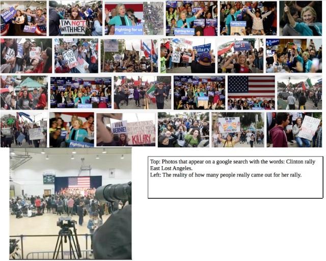 Clinton rally contrasting photos