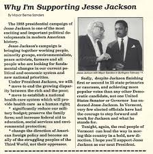 "Bernie Sanders: ""Why I'm supporting Jesse Jackson"" in 1984"