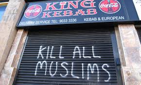 """Kill All Muslims"" Spray painted sign on a Muslim-owned shop in Britain. If the ""leave"" campaign succeeds, attacks on immigrants in Britain will get even worse."