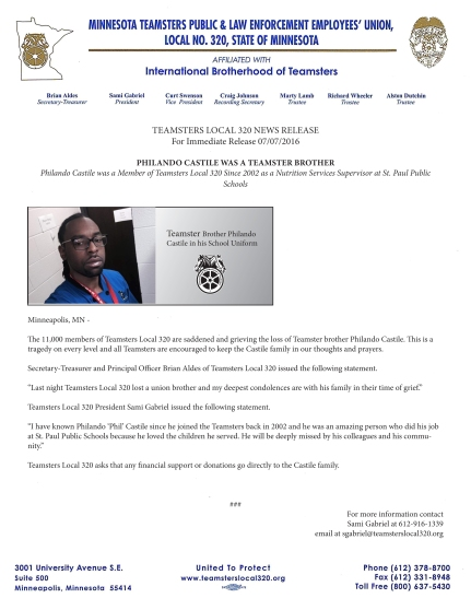 Condolence letter from leadership of Teamsters Local 320 where Philando Castile was a member. From this letter, you would think he died of natural causes. Otherwise, the union leadership has been completely silent. They're busy figuring out how to get Hillary and other Democrats elected.