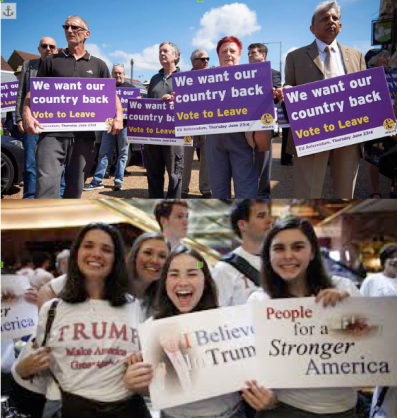 Supporters of Brexit (top) and of Trump (bottom). They have a lot in common.