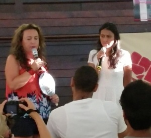 "A coalition of different socialist groups organized a ""Socialist Convergence"" for every night. It was attended by hundreds, and there was not the bickering that so often marked socialist meetings of the past. Here, on right, the daughter of slain Honduran indigenous leader Berta Caseres speaks."