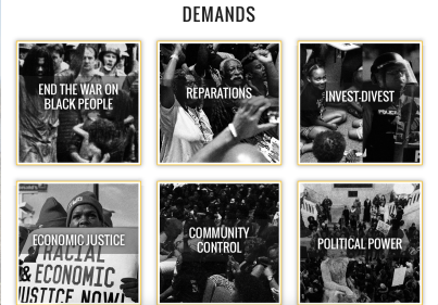 The Movement for Black Lives has developed a wide ranging platform or program. Here is the visual they present of its main planks.