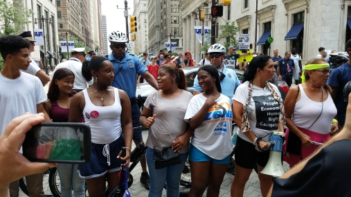 "Young people marching for ""Bernie and Jill"""