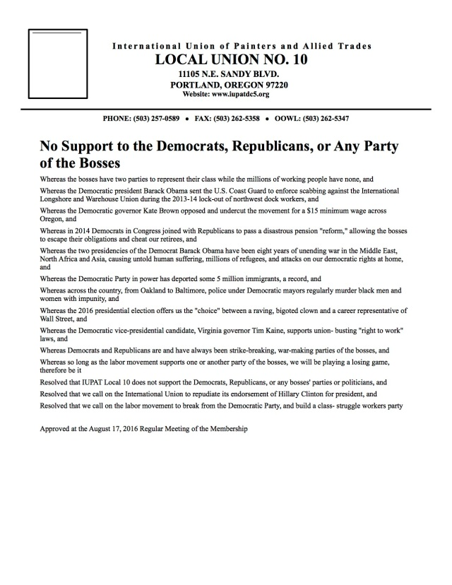Resolution for a workers party from IUPAT Local 10. This is the way to fight the racist bigot Donald Trump, and to fight for the working class in general.
