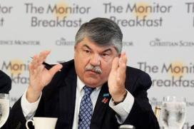 "AFL-CIO President Rich Trumka. One one side, he is already making concessions to Donald Trump's racism and xenophobia, saying he's ""scraped the rust off our political system"" and complaining that Trump was too ""meek and quiet"" in Mexico. On the other hand, Trumka is giving unqualified support to corporate shill Hillary Clinton, fostering the illusion that she can be counted on to oppose trade deals like the TPP and claiming that Clinton ""will be full partners (with the unions) in rewriting the rules of the economy,"""