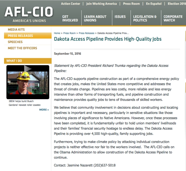 Reference was made to the statement made by the AFL-CIO in support of the pipeline. Here is a screen shot of the AFL-CIO's web site with that statement. Please note that it suggests that if you have questions or comments you contact Jasmine Nazareth at (201) 637 5018.