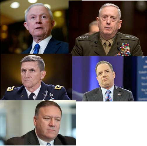"Trump appointees to date. Top: Jeff Sessions and ""Mad Dog"" Mattis; second row: James Flynn and Rence Priebus; bottom, Mike Pompeo"