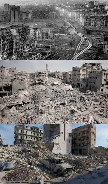 "Aleppo, Gaza and Grozny (Chechnya). Can you tell which is which? Does it matter? These are all crimes against humanity, but the left liberals and ""socialists"" cover up for the crimes of Putin. (Hint: Pictures are in chronological order from top down.)"