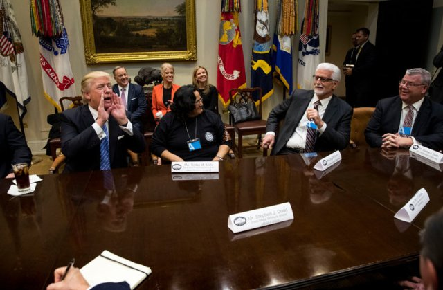 Building trades leaders with Trump. Carpenters president Doug McCarron is second from right