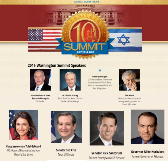Gabbard was a featured speaker at the conference of Christians United for Israel. She spoke along with such right wingers as Ted Cruz and Nick Santorum. The reactionary bigot Israeli Prime Minister, Netanyahu also spoke.