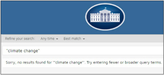 "Trump and the Republicans moved quickly. Even before his taking over, the Republicans moved to allow Corporate America even greater freedom to pollute the environment. On the very day that Trump took office, his team eliminated all references to ""global warming"" as well as ""LBGTW rights"" on the White House web site as this shows."