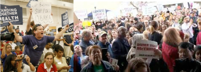 """Portesters at Republican Town Hall meetings. """"Middle America"""" is waking up."""