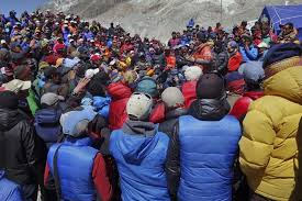 Sherpa Strike Meeting This is the actual scene where the Sherpa guides organize to go on strike.