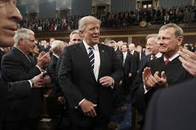 Donald Trump appearing before Congress. He was welcomed by Republicans and Democrats alike.